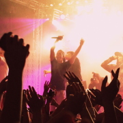 Crowd cheering in a rave